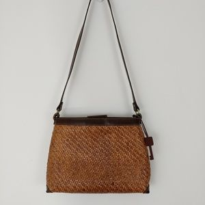 Fossil Woven Straw Leather Key Charm Shoulder Bag